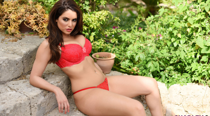 Charley S – Sexy Red Bra Boobs Show In The Garden